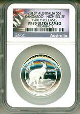 2013 S$1 Australia Kangaroo High Relief Early Release NGC PF70 Ultra Cameo