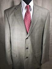 Stafford Executive 44L Blazer Sport Coat 100% Wool Brown Glen Plaid 3 Btn Mens