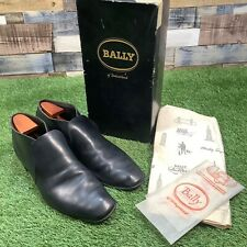 UK10 Bally 'Rally' Vintage 1960s Handmade Black Leather Boots - Boxed Shoes