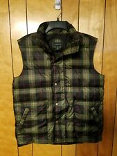 Lands End Mens Vest Puffer Style M MEDIUM Snap Button Down GREEN PLAID Fashion