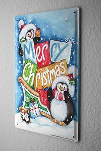 Christmas Retro Tin Sign Wall Decoration Merry Christmas penguin slide Metal Pla