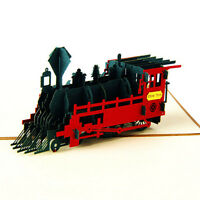 3D Up Greeting Card Retro Train Birthday Easter Anniversary Thanksgiving New