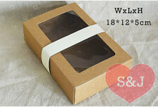 10x Kraft Cardboard Window Box 18x12x5cm Large Container Brown Gift Packaging