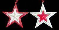 Gisela Graham Shabby Chic Red White Scandi Tin Star Christmas Tree Decoration X2