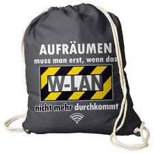 Turnbeutel Rucksack mit Spruch W-LAN Tasche Gym Bag grau