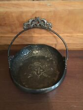 Antique Aesthetic Movement Reliance Silverplate Basket Cherub and Animal Pattern