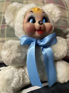 "Vintage Rubber Face Plush White Bear 8"""