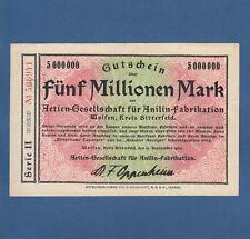 WOLFEN Kreis Bitterfeld  AG für Anilin-Fabrikation AGFA 5 Millionen 1923 II / XF