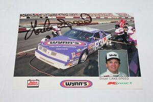 1980'S LAKE SPEED SIGNED #83 WYNN'S/DELCO BATTERY NASCAR RACE CAR PHOTO CARD
