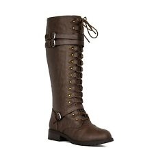 NEW Women Lace Up Knee High PU-Leather Military Combat Riding Boots Size 5.5 -10