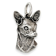 More details for solid sterling silver chihuahua dog pendant (handmade uk, also in gold)