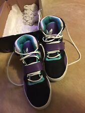 Adidas High Top Shoes Sneakers In Black with Multi-Color Detail Sz 11