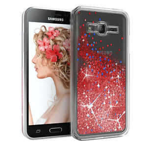 For Samsung Galaxy J3 (2016) Glitter Case Liquid Silicone Skin Phone Cover Red