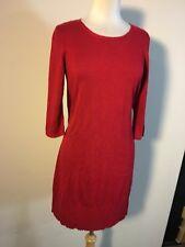 J Jill Woman's Wool Blend Red 3/4 Sleeve Tunic Knit Dress Size MP NWT