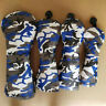 4pcs Camouflage Blue Golf Driver Fairway Wood Hybrid Club Covers For Most Brand