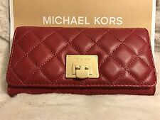 NWT MICHAEL KORS SOFT QUILTED LEATHER ASTRID CARRYALL WALLET IN CHERRY/GOLD-HDWR