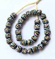 Ghana Happy Color recycled glass Short strand African Trade beads