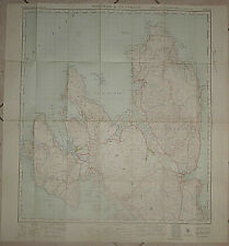 SCOTLAND MAP - ISLE of SKYE - Cloth - PORTREE and DUNVEGAN - 1947 - Staffin Bay