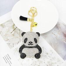 Panda Bear Keyring Black White Crystal Rhinestone Faux Suede Sparkly Bag Purse