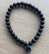 Saharan Black Aura Druzy Charm Bracelet 6mm Gemstone Beads 17cm Long
