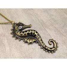 Collier sautoir fashion hippocampe black, pour femme