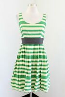 Corey Lynn Calter Anthropologie Caranday Green Beige Striped Dress Size 6 Flared