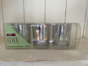 Packs of 3 Hobbycraft silver Speckled Votive Tea light Candle Holders Wedding