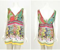 Womens Desigual V-Neck Blouse Shirt Cotton Multicolor Sleeveless Size L