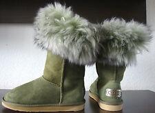 AUSTRALIA LUXE FOXY SHORT Boots Pelz Damen Stiefel Grün Leder Schuhe Gr.37 NEU