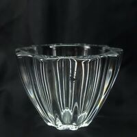"""Orrefors Crystal Ice Bowl 4-3/4"""" Clear Fluted Vase In Box"""
