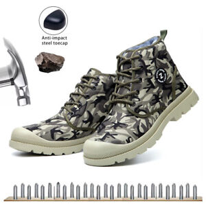 Men Safety Shoes Trainers Steel Toe Protective Hiking Fur Sneakers Women Winter