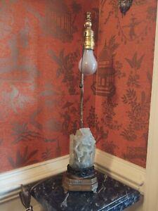 Antique Chinese Carved Jade Jadite Quartz Lamp