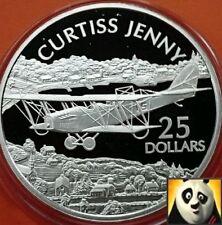 2003 Islas Salomón $25 dólares Curtiss Jenny Fino .999 moneda de plata prueba
