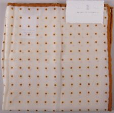 Brunello Cucinelli Pocket Square Cream Dark Yellow Polka Dot BNWT