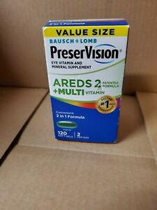 Bausch Lomb PreserVision AREDS 2 + MULTI Vitamin #120 Gels NEW-SEALED Exp 3/22+