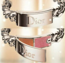 100% AUTHENTIC RARE DIOR COUTURE Gourmette SILVER JEWEL Lipgloss CHARM BRACELET