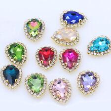20pcs Sew On 18x13mm teardrop rhinestone crystal bead shining cut glass dress