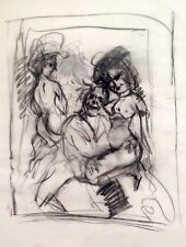 Julian Ritter-Clown With Two Ladies - Charcoal on Vellum - Inital Signed -507