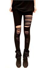 US Hot Slim Ripped Skinny Casual Women's Fashion Leggings Pants Cool Black