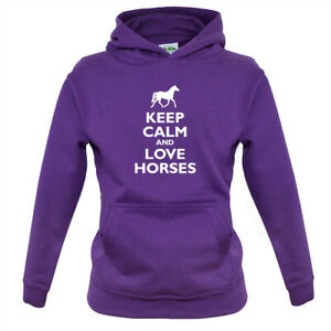 Keep Calm and Love Horses - Kids Hoodie Horse Riding Horse Racing Rider