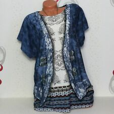 Damen T-Shirt Bluse Top Tunika Glitzer  2-in-1-Optik 44 46 48