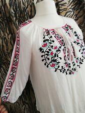 Folk Art Embroidered Gyspy Boho Crimple Top UK 12 Sun Beach Festival oversized