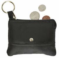 Black Leather Men's  Coin Purse Change Key Chain Ring Holder Front Pocket