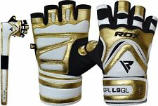 RDX Gym Gloves Weight Lifting Gloves Body Building Training Straps Bar Leather K