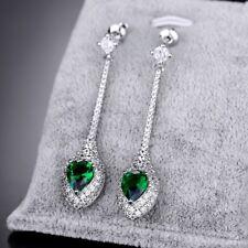 New Vintage Women Green Emerald Cubic Zirconia Silver Tone Dangle Drop Earrings