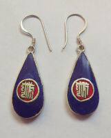 Asian Sterling silver earrings Lapis Coral  Turquoise Jewelry from Nepal  ERD10