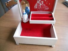 Vintage 50's Dancing Princess Music Jewelry Box With Mirror~Red interior