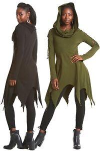 PIXIE DRESS WITH HOOD, fairy dress, elf dress, Hooded dress, long sleeves dress