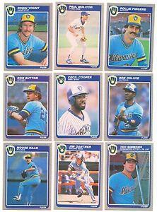 1985 Fleer Milwaukee Brewers Complete Team Set! Robin Yount Paul Molitor ++
