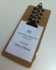 5 x Wooden A5 Clipboard Hardboard With Chrome Clip Brown Board 250x170mm